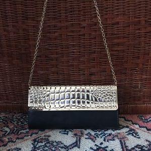 ALDO gold & leather crocodile clutch purse